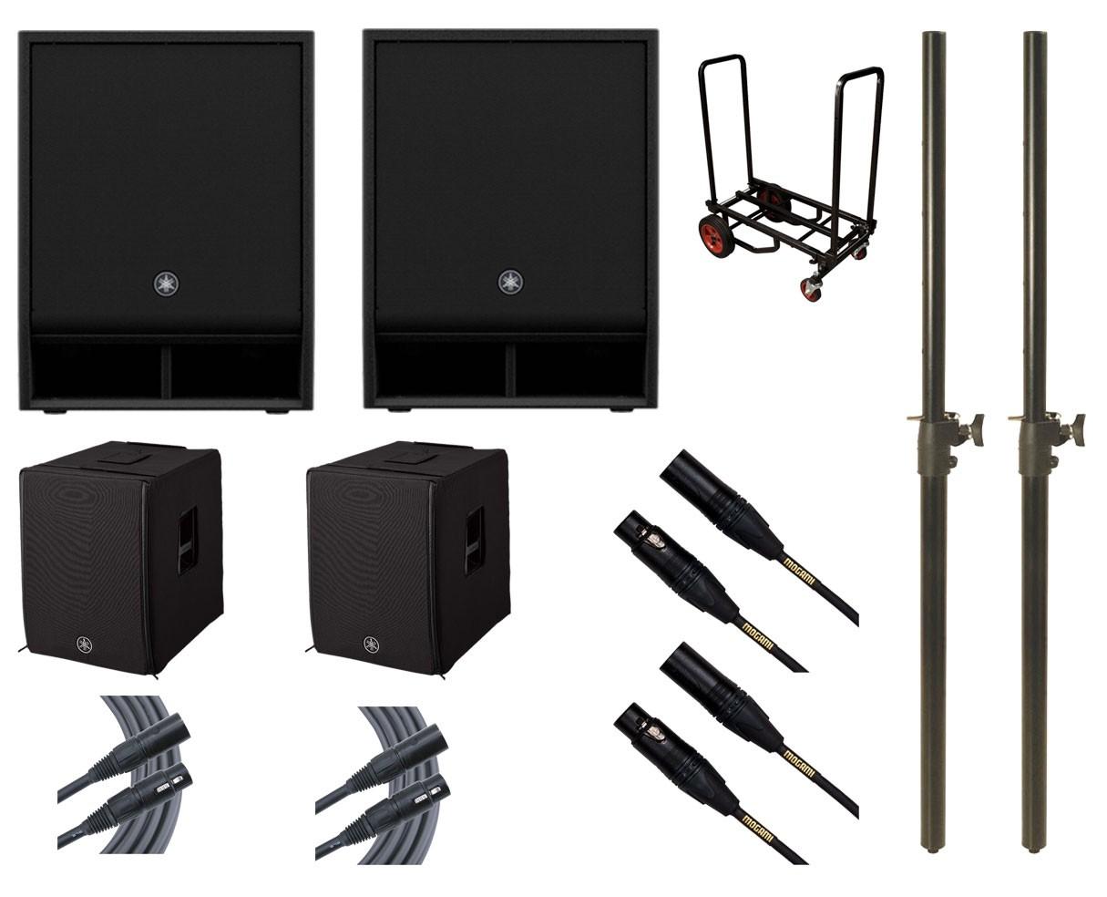 2x Yamaha DXS15XLF + Covers + Mogami Cables + Cart + M20 Speaker Poles