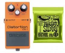 Boss DS-1 Distortion Pedal + Ernie Ball 2221 Regular Slinky Guitar Strings