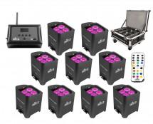 9x CHAUVET DJ Freedom Par Hex-4 + Freedom Charge 9 + D-Fi Hub