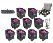 9x CHAUVET DJ Freedom Par Hex-4 + Freedom Charge 9 + Obey 40 D-Fi 2.4
