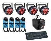 4x CHAUVET DJ FXpar 3 + Controller + Cables + Bag