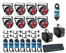 8x CHAUVET DJ FXpar 3 + Controller + Clamps + Cables + Bags