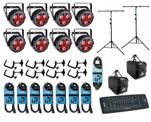 8x CHAUVET DJ FXpar 3 + Controller + Clamps + Cables + Bags + Stand