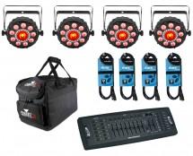4x CHAUVET DJ FXpar 9 + Controller + Cables + Bag