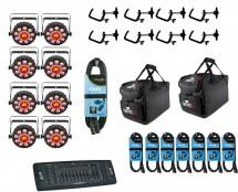 8x CHAUVET DJ FXpar 9 + Controller + Clamps + Cables + Bags