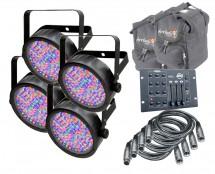 4x CHAUVET DJ SlimPAR 56 + RGB3CIR + Arriba Cases AC115 + 4 DMX Cables