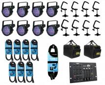 8x Chauvet SlimPAR 64 + Bags + Clamps + Controller + Cables