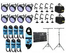 8x Chauvet SlimPAR 64 + Bags + Clamps + Controller + Cables & Truss