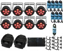8x Chauvet SlimPAR H6 USB + ADJ Hexcon + Bags + Clamps + Cables