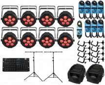 8x CHAUVET DJ SlimPAR H6 USB + ADJ Hexcon + Stands + Bags + Clamps + Cables