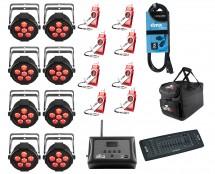 8x Chauvet SlimPAR H6 USB + D-Fi 8-Pack with Hub + Controller + Cable + Bags