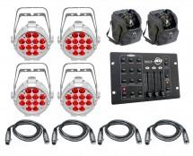 4x Chauvet SlimPAR Pro H USB White + Bags + Controller + Cables