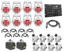 8x Chauvet SlimPAR Pro H USB White + Bags + Clamps + Controller + Cables