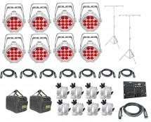8x CHAUVET DJ SlimPAR Pro H USB White + Bags + Clamps + Controller + Cables + Stands