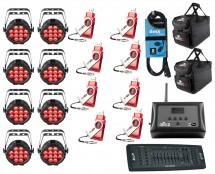 8x CHAUVET DJ SlimPAR Pro Q USB + D-Fi 8-Pack with Hub + Controller + Cable + Bags