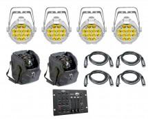 4x CHAUVET DJ SlimPAR Pro W USB White + Bags + Controller + Cables