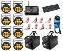 8x Chauvet SlimPAR Q12 USB + D-Fi 8-Pack with Hub + Controller + Cable + Bags