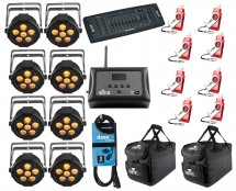 8x Chauvet SlimPAR Q6 USB + D-Fi 8-Pack with Hub + Controller + Cable + Bags