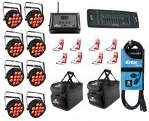 8x CHAUVET DJ SlimPAR QUV 12 USB + D-Fi 8-Pack with Hub + Controller + Cable + Bags