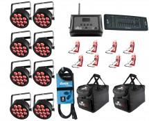 8x Chauvet SlimPAR T12 USB + D-Fi 8-Pack with Hub + Controller + Cable + Bags