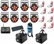 8x CHAUVET DJ SlimPAR T6 USB + D-Fi 8-Pack with Hub + Controller + Cable + Bags