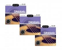 D'Addario EXP26 Coated Phosphor Bronze Custom Light Acoustic Strings 3-Pack