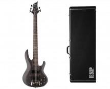 ESP LTD B-205 Spalted Maple Black Satin + ESP B Bass Form Fit Case