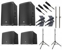 2x Electro-Voice EKX-15P + 2x EXK-18SP + Stands + Poles + Mogami Cables