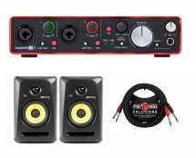 Focusrite Scarlett 2i4 MKII + KRK Rokit 5 G3 Studio Monitors + Cables