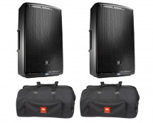 2x JBL EON615 + Bags with Wheels