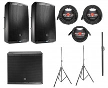 2x JBL EON615 + JBL EON618S + Pole + Stands + Cables