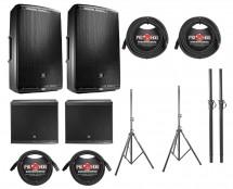 2x JBL EON615 + 2x JBL EON618S + Poles + Stands + Cables