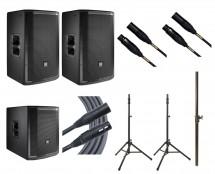 2x JBL PRX812W + JBL PRX815XLFW + 2x Ultimate TS-100B + Mogami Cables + Pole