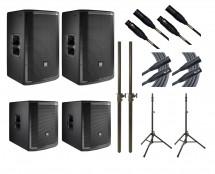 2x JBL PRX812W + 2x JBL PRX815XLFW + 2x Ultimate TS-100B + Mogami Cables + Poles