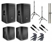 2x JBL PRX812W + 2x JBL PRX818XLFW + 2x Ultimate TS-100B + Mogami Cables + Poles