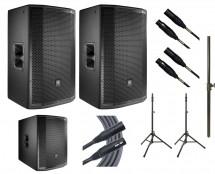 2x JBL PRX815W + JBL PRX818XLFW + 2x Ultimate TS-100B + Mogami Cables + Pole