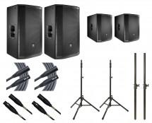 2x JBL PRX815W + 2x JBL PRX818XLFW + 2x Ultimate TS-100B + Mogami Cables + Poles