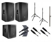 2x JBL PRX815W + JBL PRX815XLFW + 2x Ultimate TS-100B + Mogami Cables + Pole