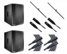 2x JBL PRX818XLFW + Poles + Mogami Cables