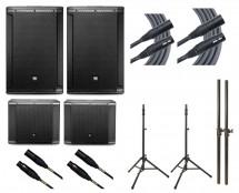 2x JBL SRX815P + 2x JBL SRX818SP + 2x Ultimate TS-100B + Mogami Cables + Poles