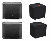 2x JBL SRX818SP + Deluxe Covers with Casters