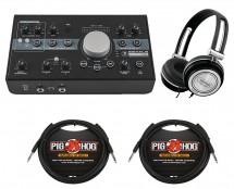 Mackie Big Knob Studio + TRS Cables + Headphones