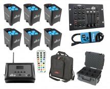 6x Chauvet Freedom Par Tri-6 + D-Fi Hub + Controller + Case + Bag + Cable
