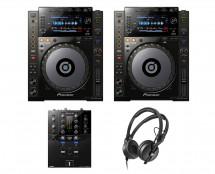 2x Pioneer CDJ-900 Nexus + DJM-S3 + HD 25