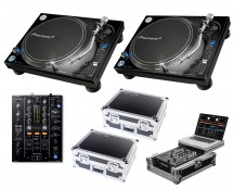 2x Pioneer PLX-1000 + DJM-450 + Odyssey Cases + Glide Style Case