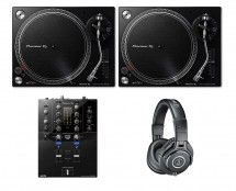 2x Pioneer PLX-500 Black + DJM-S3 + ATH-M40X