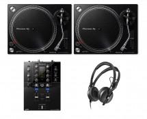 2x Pioneer PLX-500 Black + DJM-S3 + HD 25