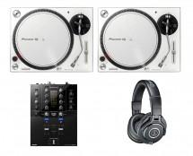 2x Pioneer PLX-500 White + DJM-S3 + ATH-M40X