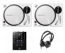 2x Pioneer PLX-500 White + DJM-S3 + HD 25