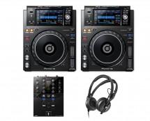 2x Pioneer XDJ-1000MK2 + DJM-S3 + HD 25